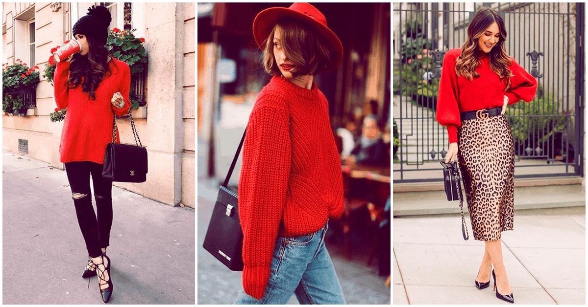 Un suéter rojo y diferentes outfits
